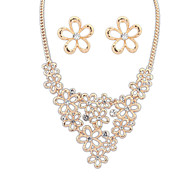 Women Palace Flower Inlay Diamond/Alloy Necklace Earring Sets