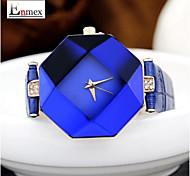 stile estivo orologio del quarzo della fascia del cuoio di taglio del diamante delle signore