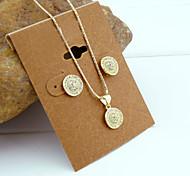 18K Golden Plated Zircon Necklace+Earrings Jewelry set