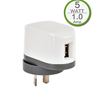 CE Single USB Wall Charger, AU/New Zealand Plug, 5V 1A Output, for iPhone 5/5s/5c iPhone 6/Plus iPhone 3/3G/3Gs