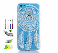 Campanula Pattern Thin Transparent Hollow TPU Phone Case And Dust Plug Stylus Pen Stand Combination for iPhone 5C