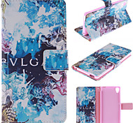 Blue Beautiful Design PU Leather Stand Case with Card Slot for Sony M4