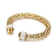 Stainless Steel Zircon Cuff Bracelets