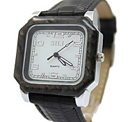 New Good Fashion White Dial Leather Band Round  Mens Watch