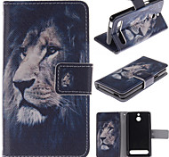 The Lion Face Design PU Leather Stand Case with Card Slot for Sony Xperia E1