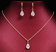 Women's High Quality Luxury 18k Gold CZ Waterdrop Wedding Gift Jewelry Sets