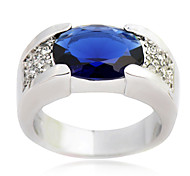 Size10 High Quality Men Blue Sapphire Rings 10KT White Gold Filled Ring