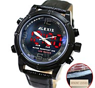 Men's Fashion Water Resistant Round Leather Band Digital LED Watch (Assorted Colors)