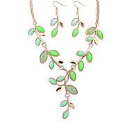 Women Fresh Bohemia Leaves Alloy Necklace Earring Sets