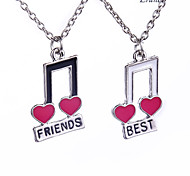 Euner® Silver Color Painting Necklace Happy Best Friend Set Of Two Half a Person Necklace Music notation Wholesale