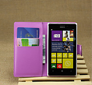 For Nokia Case Wallet / Card Holder / with Stand Case Full Body Case Solid Color Hard PU Leather Nokia Nokia Lumia 925