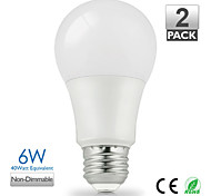 2pcs Vanlite E27 6W 500lumen LED Lamp A60 for Home Warm White,Natural White Choose Energy Saving (AC220-240V)