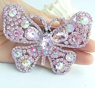 Women Accessories Silver-tone Pink Rhinestone Crystal Butterfly Brooch Art Deco Crystal Brooch