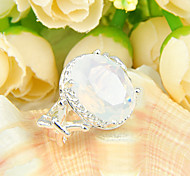 Unique Family Friend Gift Fire Moonstone Gem 925 Silver Statement Flower Rings For Wedding Party Daily Casual 1pc
