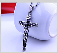 Fashion Cross Titanium-Steel Pendant(Silver)(1Pc)