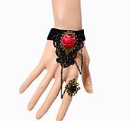 Vintage Red Rose Black Gem Bracelet With Ring