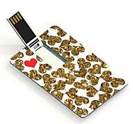64GB Golden and Red Heart Design Card USB Flash Drive