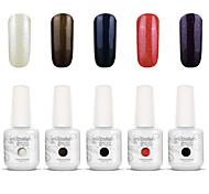 Gelpolish Nail Art Soak Off UV Nail Gel Polish Color Gel Manicure Kit 5 Colors Set S118