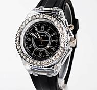 Mulheres Relógio de Moda Quartz LED Silicone Banda Preta / Branco marca-