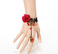 Vintage Big Red Rose Small Bead Bracelet With Ring