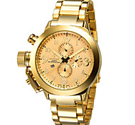 SPEATAK Men's Fashion Faux 3-Sub Eyes 6 Pointers Stainless Steel Band Quartz Watch with Calendar - Gold