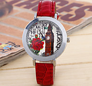 Ladies Fashion Silver Shell Flower Round Belt China Watch Movement Castle(Assorted Colors)