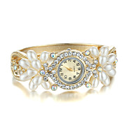 Sjeweler Girls Fashion Golden Pearl CZ Diamond Bracelet Watch Cool Watches Unique Watches