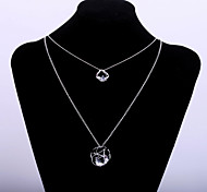 Fashion Women's Sweater Chain Hollow Pendant Long Necklace with Big Zircon