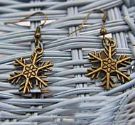 Romantic Snowflake Shaped Bronze Earrings