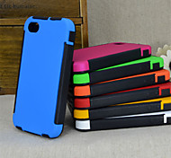 2 in1 ibride ad alto impatto custodia in silicone duro per il iphone 4 / 4s (colori assortiti)