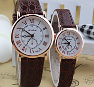 Couple's Round  simple Dial PU Band Quartz dress Fashion Watch