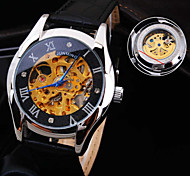 novo espelho de vidro redondo roma número diamante mineral Dial banda de couro genuíno moda impermeável relógio mecânico dos homens