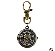 Retro Style Bronze Hollow Skull Quartz Necklace Pendant Chain Clock Pocket Watch Key Ring Watch For Men Women