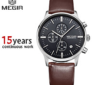MEGIR®Chronograp Black Genuine Leather Strap Business Watch Quartz Luxury Sport Watch Men Brand Watch (Assorted Colors)