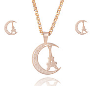 Women's 18K Gold Plated Stainless Steel Moon And Tower Pendant Necklace Stud Earrings Jewelry Sets Casual Jewelry Sets