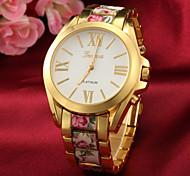 teste padrão de flor liga de ouro quartzo relógio de pulso da senhora