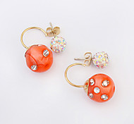 European Style Fashion Candy Color Rhinestone Earrings