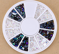 Mixed Black White Oval Heart Round Nail Art Beads Crystal Acrylic Rhinestones Fake Diamond for Nail Decorations Design
