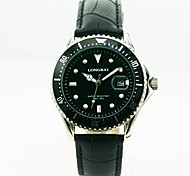 Men's Calendar Analog Stainless Steel Case Round Dial Leather Band Japan Quartz Watch Men Business Watch Gift Watch