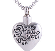 Men Women Platinum Plated Stainless Steel I Love You Heart Cremation Pendant Necklace Memorial Ash Urn Jewelry