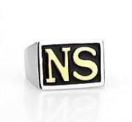 Fashion NS Shape Titanium Steel Hot Sales Ring For Men(Gold)(1Pc)