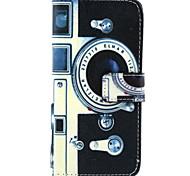Retro-Kamera-Muster PU Ledertasche mit Magnetverschluss und Einbauschlitz für iPhone 6