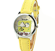 Children's Spongebob Pattern PU Band Cute Cartoon Analog Wrist Watch Cool Watches Unique Watches