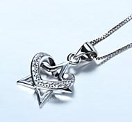 S925 silver stars heart-shaped pendant Europe Korea fashion accessories pendant all-match