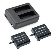 sg006 GoPro Hero 4 chargeur 3.8V 1500mAh GoPro Hero 4 batterie 2pcs kit + usb chargeur double 2 de la batterie pour GoPro 4
