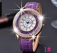relógio grande faux de marcação de quartzo de couro das mulheres (cores sortidas)