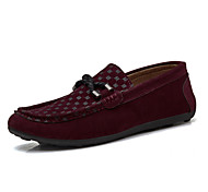 Men's Shoes Outdoor/Casual Leather/Loafers Black/Brown/Red