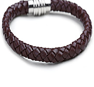 Fashion Magnetic Snap Cowhide Weave All-Match Bracelet(Black/Coffee)(1Pc)