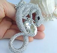 3.94 Inch Silver-tone Clear Rhinestone Crystal Lizard Brooch Pendant Art Decorations
