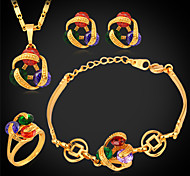 U7® Girl's Multicolor Cubic Zirconia Necklace Bracelet 18K Real Gold Plated Luxurious CZ Bridal Jewelry Set